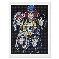 ダイヤモンドアート工芸品絵画 Guns N' Roses Draw ガンズ アンド ローゼズ ドロー 30 x 40 Cm ラインストーン写真 壁の絵 ウォールペーパー ウォール おしゃれ お風呂の装飾 クリスタルラインストーン 刺繡絵画写真 ギフト絵画