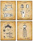 Original Sewing Patent Art Prints - Set of Four Photos (8x10) Unframed - Great Craft Room Decor and Gift for Quilters, Seamstresses, Tailors and Sewing Addicts Under $15
