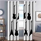 Rock Music - Cortinas opacas de alta resistencia para guitarra (52 x 84 cm), color negro y blanco
