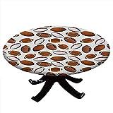 Nappe ronde avec bords élastiques, design classique ballon de rugby style dessin animé sport compétition football américain pour table jusqu'à 91,4 cm de diamètre Caramel Rubis blanc