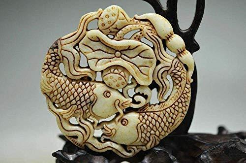 Adornos Colección De Esculturas Jade Natural Tallado A Mano Animal Pez Flor De Loto Hoja De Loto Ahueca hacia Fuera Amuleto Charm Colgante Collar