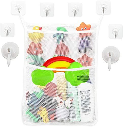 Red juguetes bañera,guarda juguetes bañera,bolsa juguetes bañera,red baño juguetes,con 6 Ganchos Autoadhesivos Robustos y 2 Ventosa (Blanco)