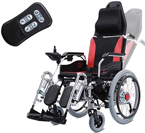 RDJM Ultraleichter Faltbarer Elektrischer Rollstuhl mit Polymer Li-Ion Battery, Frei-Reiten, Elektro-Rollstuhl, Fußpedal, Rückenlehnenfernbedienung einstellen, Sitzbreite 46cm