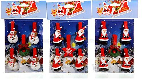 30 x Holzklammer Weihnachten Nikolaus Schneemann Rentier Kranz Stern Dekoklammer