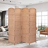 SIMFLAG Folding Screen Room Divider 4 Panel, 6Ft Partition Room Dividers Freestanding,Indoor Portable Partition Screen, Diamond Double-Weaved,No Installation Required(Beige)