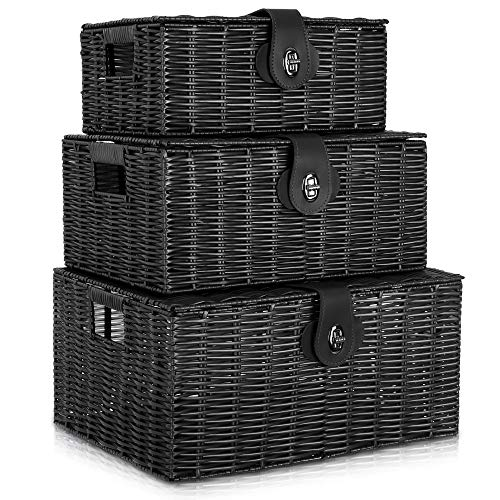 LIVIVO Set of 3 Resin Woven Wicker Hamper Basket Storage Box with Lid and Lock (Set of 3 Black)