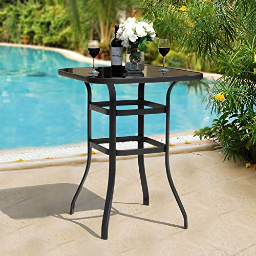 Nuu Garden Outdoor Bar Height Patio Tables, 32 Inch Square Steel Frame High Top Bar Table, Tempered Glass Table Top, Black