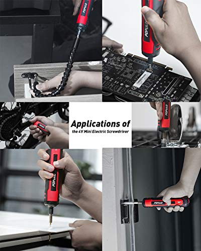 4V Cordless Electric Screwdriver Kit, USB Rechargeable Lithium ion Battery, LED Work Light, 32 pieces Screwdriver Bits, 8 Sockets, Flex Hex Shaft, Bit Holders and Storage box, Populo Power Screwdriver