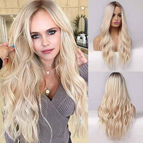 EMMOR lange blonde Perücke für Frauen - natürliches synthetisches Haar dunkle Wurzel Mittelteil Ombre Perücken, Party Cosplay Täglicher Gebrauch (2 Stück kostenlose Perückenkappe)