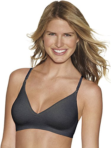 Hanes by Comfy Support ComfortFlex Fit Wirefree Bra_Gravel Grey Heather_Small