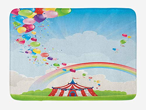 MLNHY Circus Bath Mat, Circus Rainbow and Colorful Balloons Freedom Theme Traveling Cloudscape Festival, Plush Bathroom Decor Mat with Non Slip Backing, 23.6 W X 15.7 W Inches