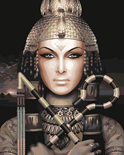 YUXAOYFAK DIY Malen Nach Zahlen Königin Von Ägypten Von Nummer Kit, Malerei Lacke Zeichnung Mit Pinsel 16 * 20 Zoll Weihnachten Dekorationen Geschenke 40X50Cm