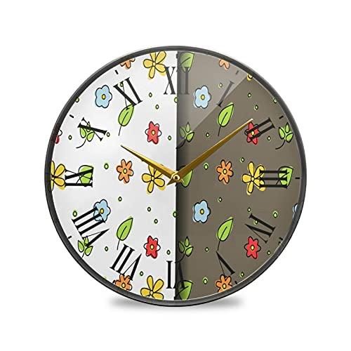 Hoja Floral Arte Reloj de Pared Silencioso Decorativo Relojs para Niños Niñas Cocina Hogar Oficina Escuela Decoración