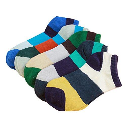 Fletion Uomo Strisce Calzini Di Cotone Shallow bocca calzini invisibili calze ,5 coppie colore casuale