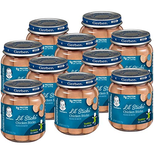 Gerber Lil Sticks Baby Food Jar, Chicken Sticks, 2.5 OZ (Pack of 10)
