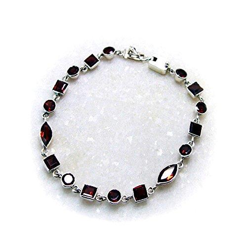 Jewelryonclick Granate Natural Pulseras de Eslabones de Plata de Ley para Mujeres Bisel Estilo Joyas de Piedras Preciosas Regalo
