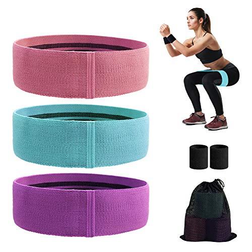 Baozun Resistance Hip Bands Fitnessbänder Schweißband Set Widerstandsbänder Trainingsbänder Set Yogaband mit 3 Verschiedene Zugkraftstärken Bänder für Beintraining, Krafttraining und Klimmzüge