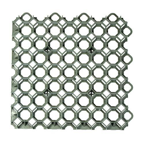 acerto 30376 Rasengitter Kunststoff Platte, 49 x 49 x 4 cm - Befahrbar – bis 400t/m² - Hochwertige Rasengitterplatten, Paddockplatten (Grün)