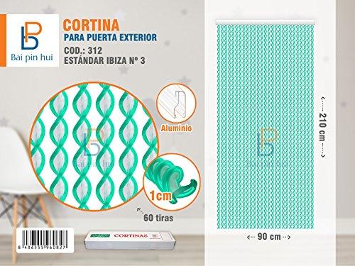 Bai Hui Pin) (Cod. 312) Rideau de porte extérieur, modèle ibiza, 60 Bandes, couleur : vert transparent, matériaux : plastique et aluminium, dimensions : 90 x 120 cm