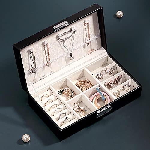 Recet Joyero para mujer, simple, portátil, de una sola capa, con varios compartimentos, moderno