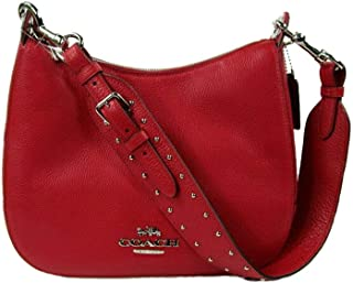 Coach Jes Leather Rivets Hobo Shoulder Purse - #F76696 - Red/Silver