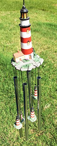 Assateague Islands Lighthouse Nautical Beacon Resonant Relaxing Wind Chime Patio Garden Decor