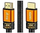 Cable HDMI de 8K Cable de conexión de 0.75M, Velocidad ultraalta 2.1 a 48 Gbps, 8K@60Hz, 4K@120Hz, Soporte para Fire TV, Ethernet, Audio Return, UHD 4320p, 3D y Xbox Playstation PS3 PS4-IBRA Naranja