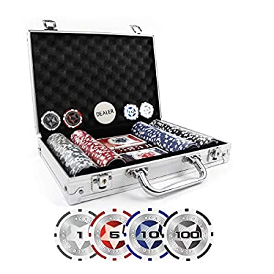 KAILE Clay Poker Chips Set Heavy Duty 13.5 Gram Chips Texas Holdem Cards Game Blackjack Gambling Chips with Aluminum Case
