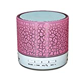 Night Lights with Speaker YANX Mini Bluetooth Speaker Wireless Portable Cracked Layer Sound Box Subwoofer Speaker with Mic & Colorful LED Light,Support USB/AUX/SD/TF Card/FM Music(Pink)