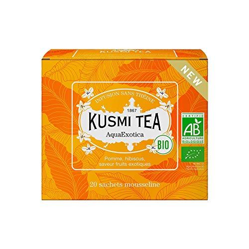 Kusmi Tea - AquaExotica bio Teemischung aus Hibiskus und Apfel Aromatisiert mit Exotischen Früchten - Gourmet Früchtetee - Heiß oder als Eistee - 20 Musselin Teebeutel