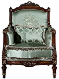Casa Padrino sillón Barroco de Lujo Verde Claro/marrón 80 x 90 x A. 119 cm - Sillón de salón con cojín Decorativa - Muebles Barrocos