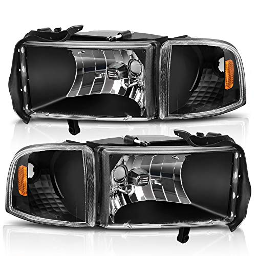AUTOSAVER88 Headlight Assembly Compatible with 1994-2001 Dodge Ram 1500/1994-2002 Dodge Ram Pickup 2500 3500 Black Housing Amber Reflector with Corner lights