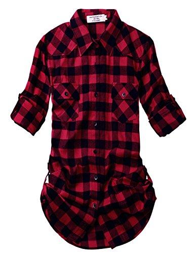 Dopasuj damska flanelowa koszula w kratę #2021