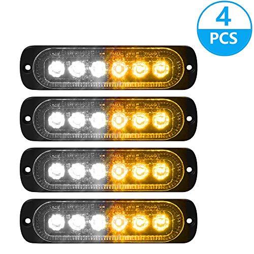 Lot de 4 feux de gabarit stroboscopiques latéraux pour voiture et camion 6 LED Ambre Clignotant Avertissement de détresse DC12 24 V (blanc + jaune)