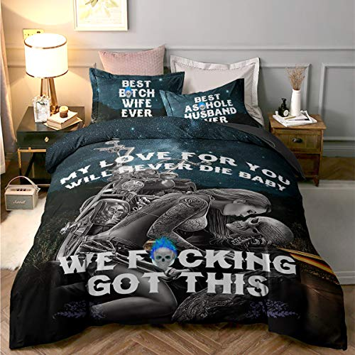 Skull Duvet Cover King 3D My Love for You Will Never Die Baby Printed Bedding Quit Cover with Zipper Closure for Adults, Soft Microfiber Skull Bedding 220x230cm (3 Pieces, King Size)