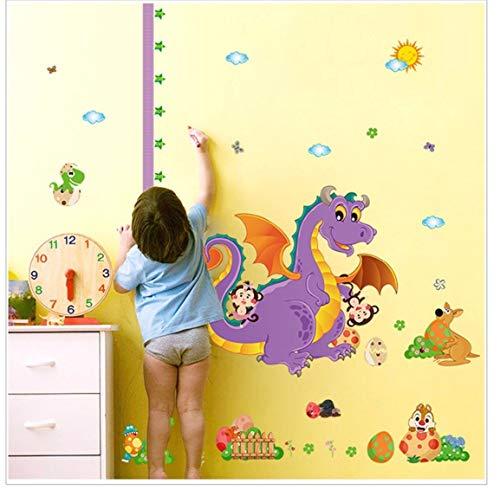 Lila Dinosaurier Kind Höhenmessung Kind Wandaufkleber Zimmer Wachstum Graph Diy Wandbild Kindergarten Familie Applique Wallpaper