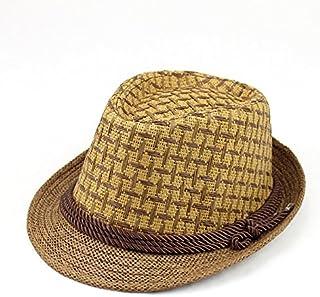 LONGren Jazz Hat Ladies Straw Hat, Short Eaves Casual Men's Straw Hat Summer Outdoor Travel Sun Protection Sun Hat (Color ...