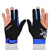 Gants élastiques 3 doigts pour tireurs de billard Carom Pool Snooker Queue Sport – À porter sur la main droite ou gauche (noir, bleu, L)