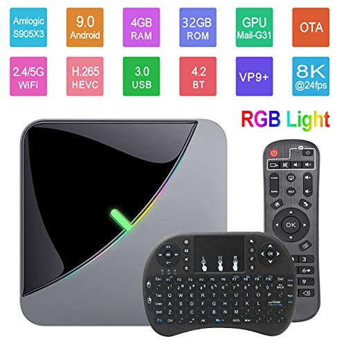 Android 9.0 TV Box A95X F3 Air 8K RGB Smart TV Box Light Amlogic S905X3 4GB 32GB 2.4G&5.8GHz Dual WiFi BT 4K 60fps Netflix YouTube Smart TV Dongle Media Player with Wireless Keyboard Remote