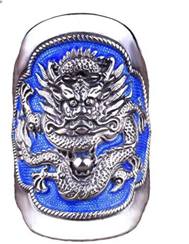 GJPSXTY Anillo de plata de ley con diseño de dragón, estilo retro, tailandés, color azul
