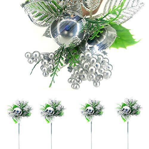 TIANHOO Composizione Floreale Natalizia, Natale Pigne Artificiali Berry Steli Decor Bouquets Fiori Artificiali Ghirlanda Decorativa Ornamenti per Alberi -5 Pezzi (Argento)
