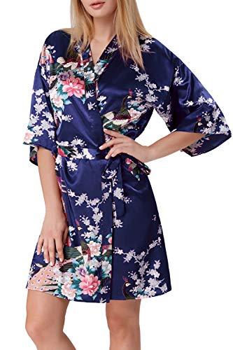 Zexxxy - Bata de satén para Mujer, Kimono, túnica Corta, Ropa de Noche, Albornoz Peacock y Flores Azul Marino XL