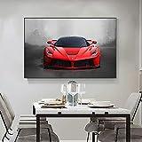 PLWCVERS Arte Rojo Moderno, Carteles e Impresiones de Autos Deportivos, impresión en HD, Lienzo, imágenes artísticas de Pared, Sala de Estar, Artista de Pared, decoración del hogar