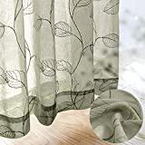 Sheer Curtains for Bedroom Rod Pocket Embroidered Leaf Window Curtains 84 inch Length Botanical Geometric Drapes Living Room 2 Panels Sage