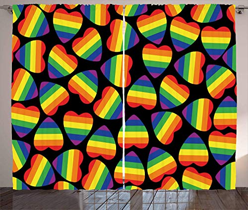 FAFANIQ Pride Curtains, Rainbow Colored Striped Heart Shapes on Black Backdrop Gay Lesbian Love Parade Print, Living Room Bedroom Window Drapes 2 Panel Set, Black Ruby,110 * 74 Inch