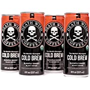 Death Wish Coffee, Cold Brew Cans, The World's Strongest Coffee, Organic Iced Coffee Drink - 8 Ounces - 300 mg of caffeine - 4 Pack (Slightly Sweetened Black)