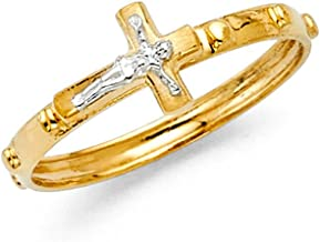 FB Jewels 14K Yellow And White Two Tone or White Gold Rosary Crucifix Cross Religious Eternity Anniversary Wedding Ring Band