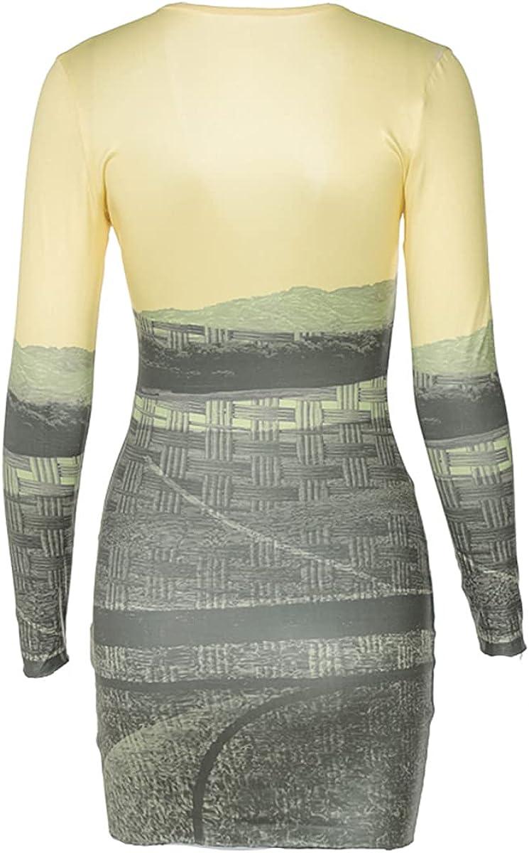 PUXINR Women's Sexy Deep V Neck Long Sleeve Bodycon Pattern Print Yellow Slim Casual Mini Party Club Dress