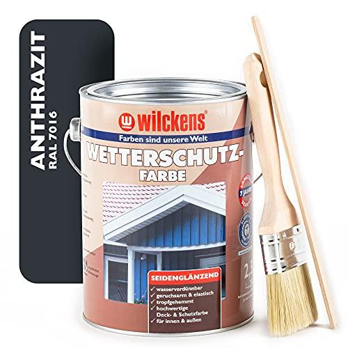 Wilckens Wetterschutzfarbe SET 2,5L RAL 7016 - Holzfarbe außen anthrazit seidenglänzend - Wetterbeständige Holzschutzfarbe aussen anthrazit im Set mit Pinsel & Rührholz - Made in Germany
