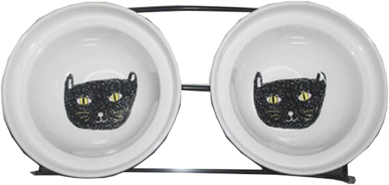 Little Double Bowls Set Ceramic Feeding Pot Pet Bowls Dog Bowls Cat Bowls for Food & Water S Size(C 10)